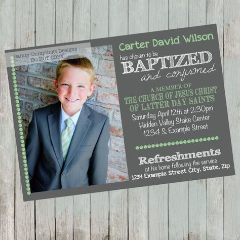 Baptism Announcement LDS 1 to 3 photos by daintydumplings