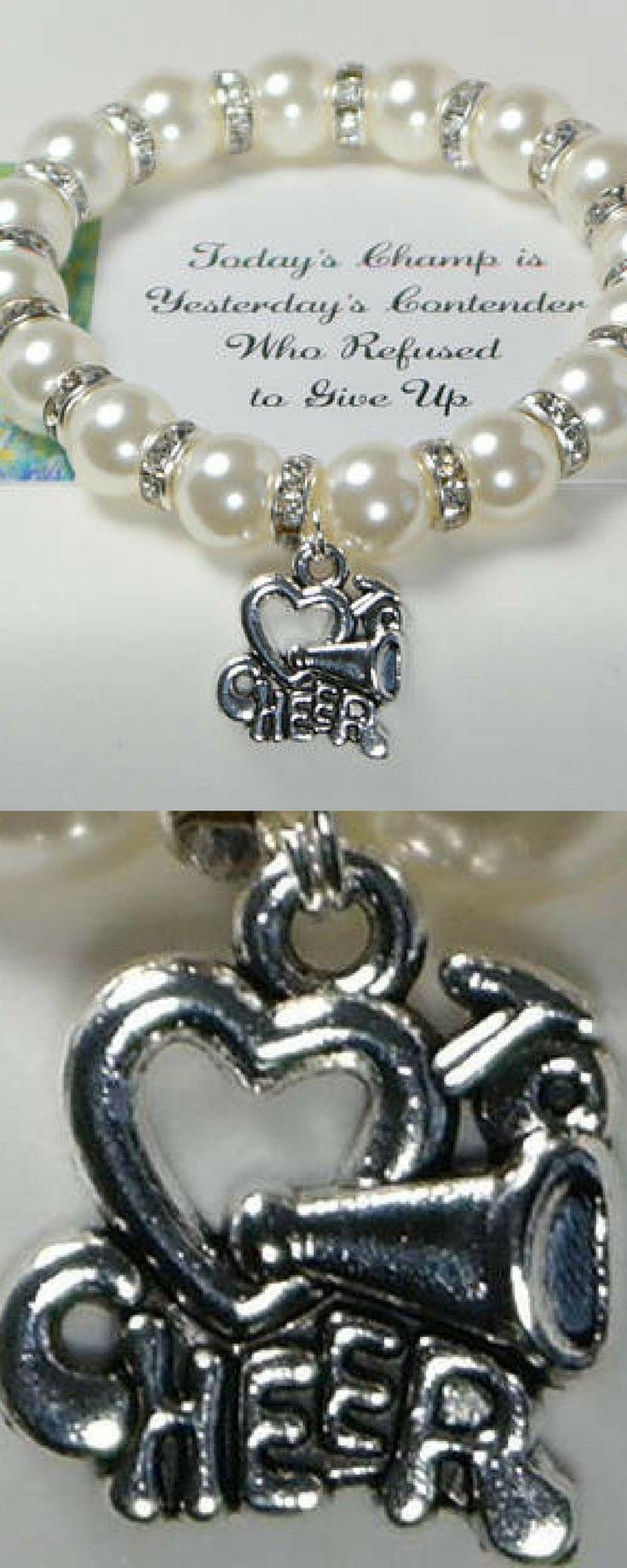 $6.99. cheerleader gift - cheer bracelet - faux pearls - pom poms - gift for cheer team - gift for cheer coach - cheerleading gift - cheer gift - cheer mom gift - cheer bow #cheerleading #ad