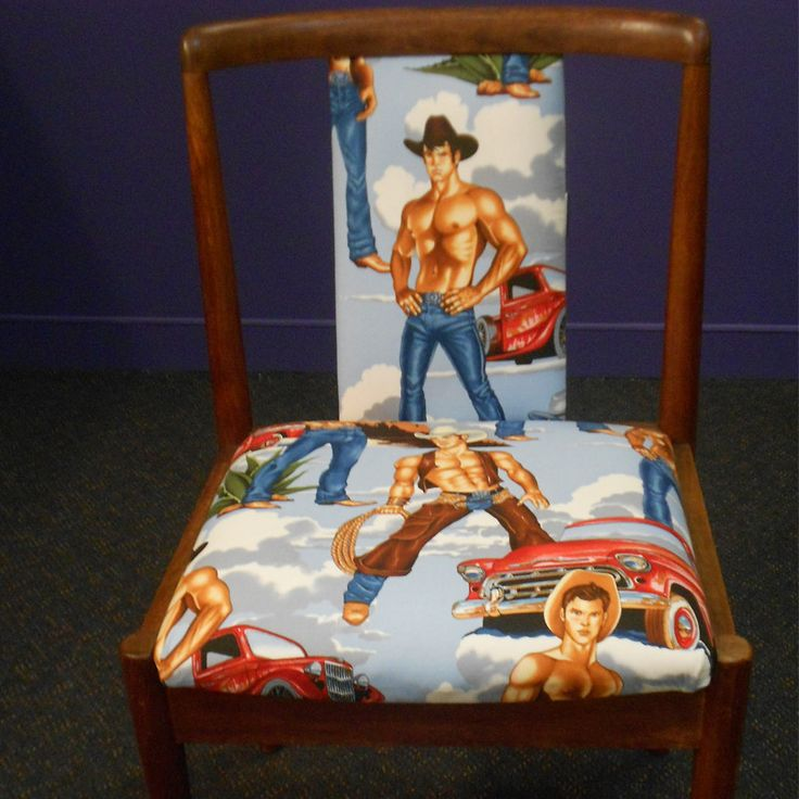 We LOVE this chair upholstered with Alexander Henry fabric featuring cowboys! One of a few that have been made by hand here in Sydney.