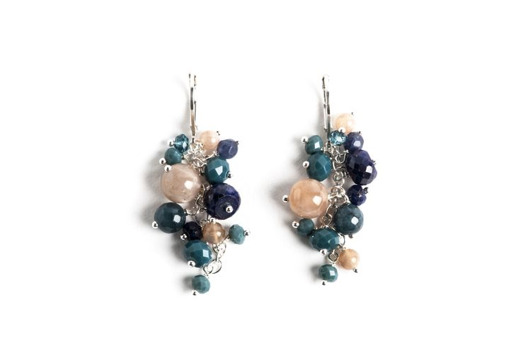 Sterling silver, blue ruby, moonstone and crystal earrings. www.danielleoconnorjewellery.com