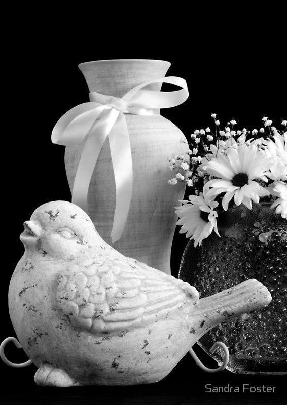 Vase, Bird And Daisies