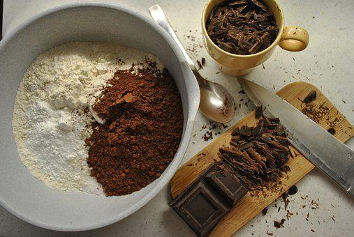 #chocolate #cocoa #cocoapowder #choppedchocolate #flour #cuttingboard #bowl #mug