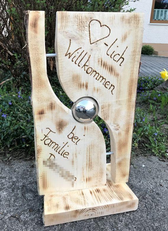 Houten Bord Met Zilveren Bal En Aluminium Buizen Welcome Persoonlijk Garten Dekor Holzschilder Personalisierte Holzschilder Holz Kreativ