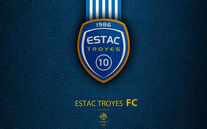 Download wallpapers ES Troyes AC, 4K, French football club, Ligue 1, leather texture, logo, emblem, Troyes, France, football, Troyes FC