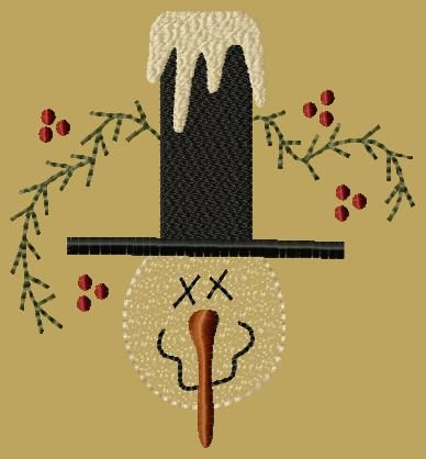 PK021 Snowman with Hat - 5x7 - $8.00 : Primitive Keepers, Prim Machine Embroidery Designs