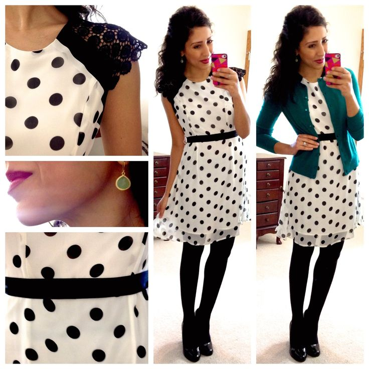 Hello, Gorgeous!: April 2014 Black and white polka dot dress with a teal cardigan .. Cute work outfit