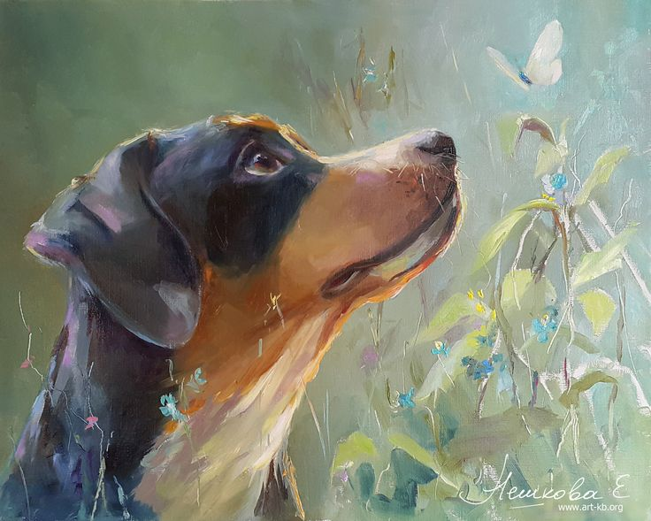 dog, painting, neshkovaart, Ekaterina Neshkova Art