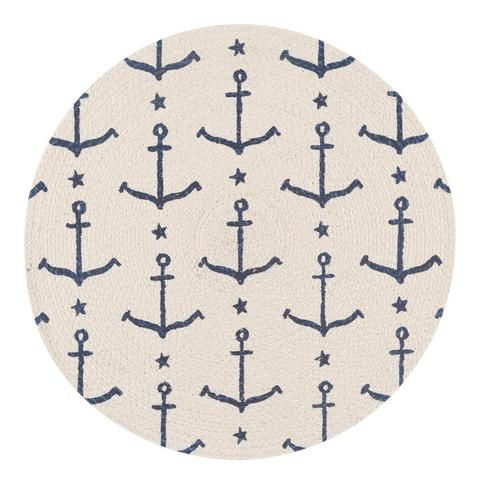 Add a contemporary, fun, nautical design to your home with the Now Designs Ahoy, Matey Braided Place Mats! Featuring a indigo blue anchor on an ivory white background, these placemats will add a fresh new twist to supper and dinner time. The charming nautical design will be a welcoming addition to any brunch table!
