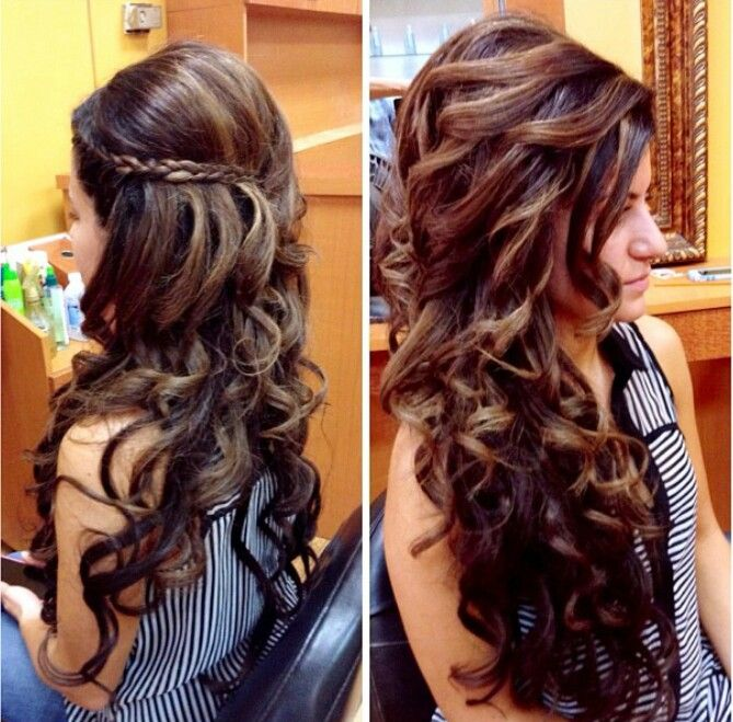 Braids Hairstyles, Long Curly Hairs, Hairs Stylists, Bride Hairs Down ...