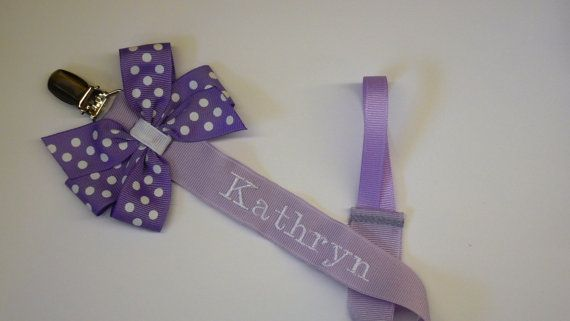 Monogram Pacifier Holder Baby Boy or Girl Personalized by LilMamas, $8.50