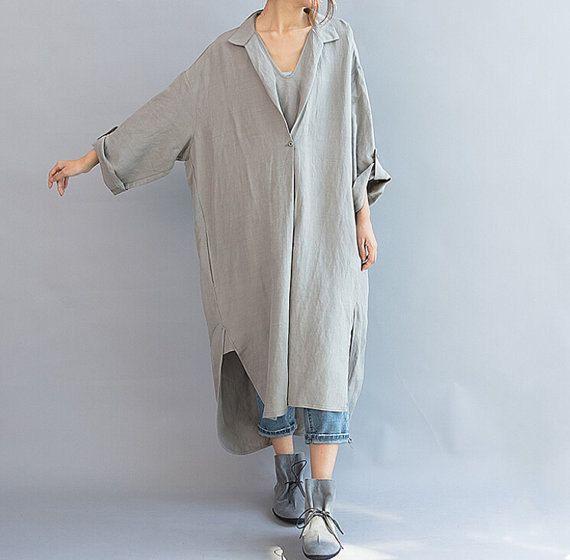 Women Loose Fitting linen Long dress/ Asymmetric gray by MaLieb