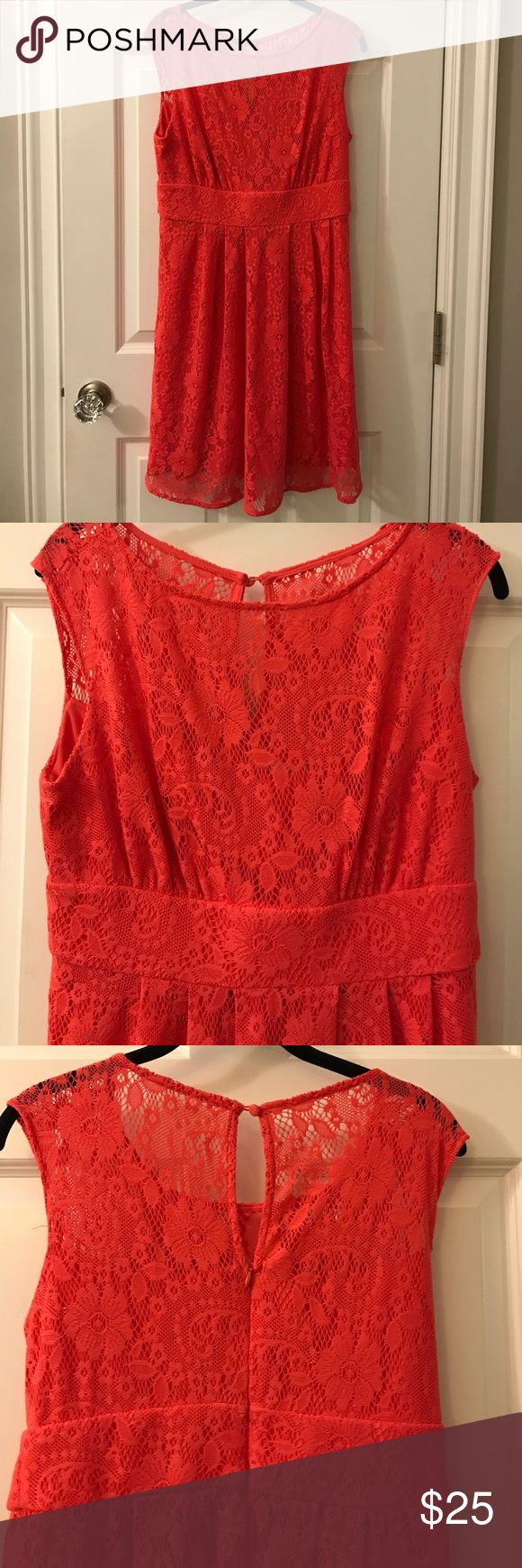 Dressbarn Coral Lace Dress Size 10 Very pretty coral lace dress, top is sheer but has a lining up to the bust line.  Keyhole back. Size 10.  Good used condition. Dress Barn Dresses