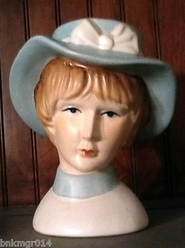 Vintage Ceramic Lady Head Vase with Steel Blue Colored Hat   eBay