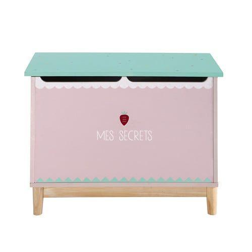 Cassapanca per giocattoli bambino in legno rosa L 70 cm