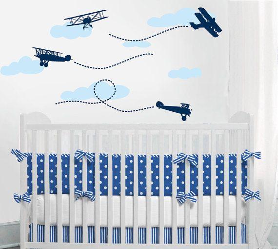 Airplane decal  Biplane wall baby boy Nursery Wall by ababywall, $30.00
