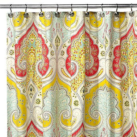 Uphome 72 X 72 Inch Bright India Tropical Shower Curtain with Paisley Patterns-Bright Red and Yellow Heavy-duty Cute Fabric Kids Bathroom Accessories Ideas Uphome