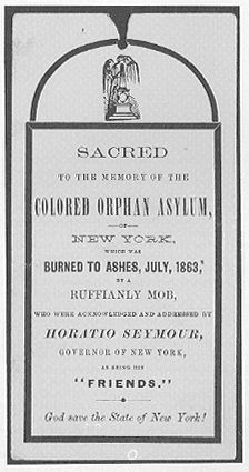 After the riots, when the Colored Orphan Asylum attempted to rebuild...neighboring property owners asked them to leave. The orphanage relocated to 51st Street for four years before moving into a new residence at 143rd Street between Amsterdam and Broadway...in what would be...Harlem.