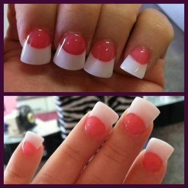 Pink And White Manicure | ... nails images , Acrylic , Acrylic Nails , pink & white duck tip nails
