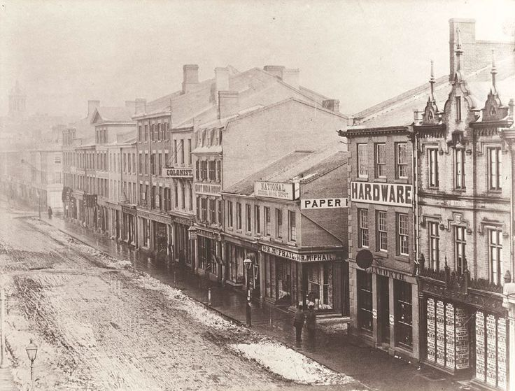 King Street East, south side of the street looking east between Yonge and Church streets., 1856. Thanks to www.torontoist.com and City of Toronto Archives.