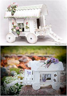 Домик на колесах из картона и палочек от мороженого. МАСТЕР-КЛАСС.