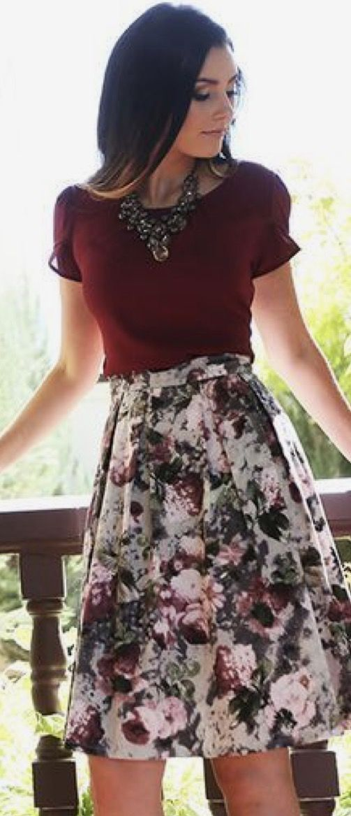 ☀️☀️Spring or Summer floral skirt.  April 2017 STITCH FIX inspiration. Sign up NOW for Stitch Fix! Your very own personal stylist. It's easy, fun and only $20 a Fix! Add this pin to your StitchFix style board! ☀️☀️ #Sponsored #Stitchfix
