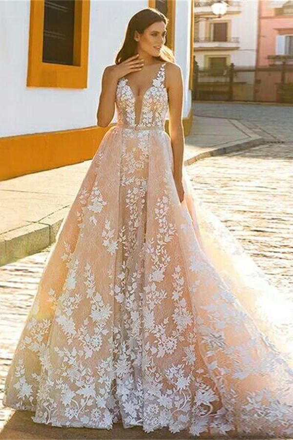 Formal V-neck Long Lace A-line Beautiful Charming Wedding Dresses Prom Dresses Z0511
