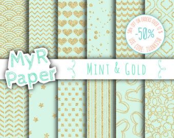 Mint gold digital paper: MINT & GOLD GLITTER gold by Grepic