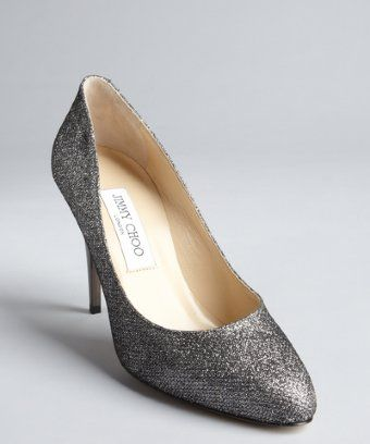 Jimmy Choo: anthracite glitter leather and shiny heel pumps