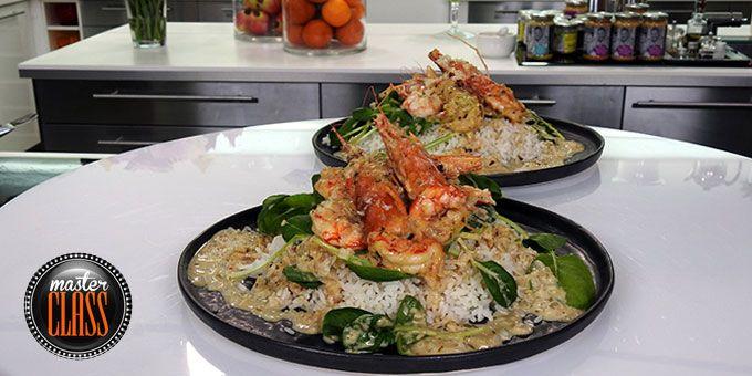 Λευκό σαγανάκι γαρίδες με αρωματική σάλτσα