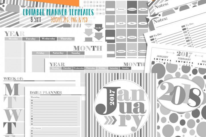 Customizable Planner Page Templates By Studio Kitsch Commercial - planner page templates