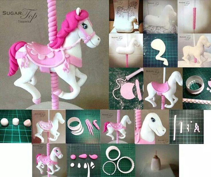 Carousel Pony Picture Tutorial - cake topper, gumpaste, fondant