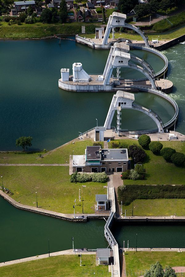 Dutch river lock structure in the Lek river, Zuid Holland.