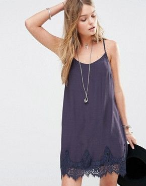 Kiss The Sky Cami Slip Dress With Lace Hem