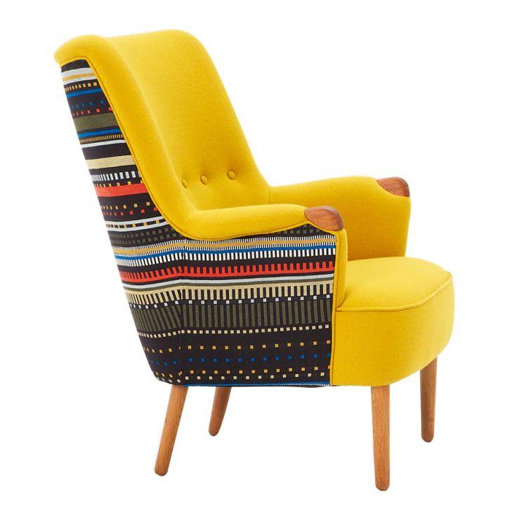 Danish midcentury loungechair newly upholstered in Paul Smith fabric. gulp.