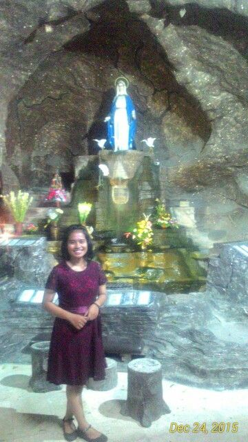 A place with peace and beauty Mary.  (It's me who use a red dress. Holy Mary is behind me)