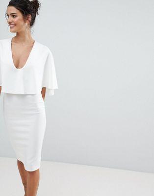 ASOS Cape Plunge Midi Bodycon Dress