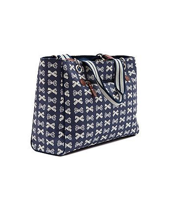 Pink Lining Bramley Tote - Navy Bows On Cream