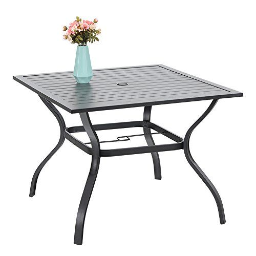 Phi Villa 37 Outdoor Patio Bistro Metal Steel Slat Dining Table