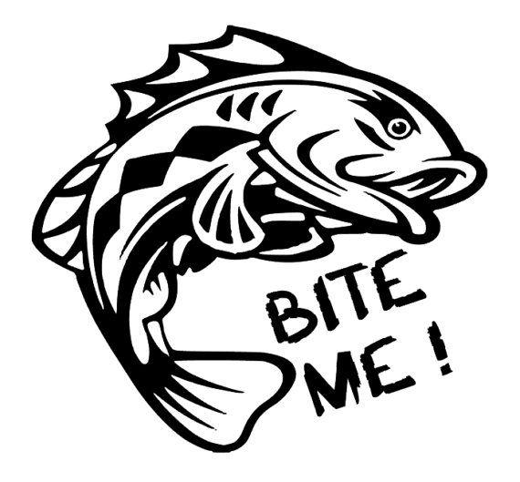 Bite Me Fish  vinyl  car  decal  sticker by SuperBVinyl on Etsy