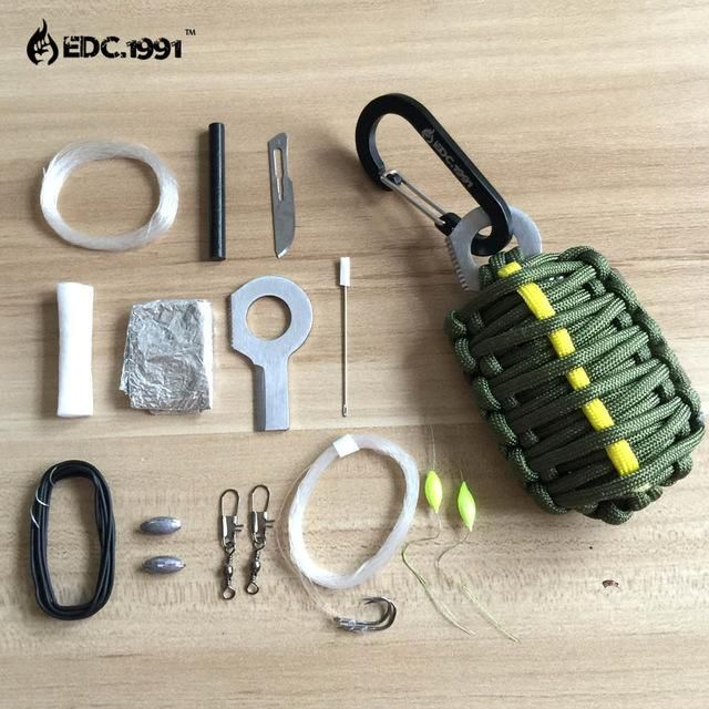 Edc.1991 U.S. Carabiner 550 Paracord Survival Kit Keychain Fishing Tools Kit And Sharp Eye