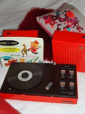 Tourne Disque Pathé Marconi Orange, Tourne Disque Vinyl, Tourne Disque Ancien - Bambin-Vintage