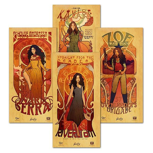 Strong. Beautiful. Deadly. Sexy.  We offer those attributes in spades with the Firefly Les Femmes Poster Set. Created by designer Megan Lara using the sinuous lines, floral motifs and organic pastels that are characteristic of art nouveau, each of these ladies bedazzle with sheer personality and femininity.