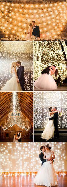 Light Wedding Backdrop Decoration Ideas / http://www.deerpearlflowers.com/39-magical-string-hanging-light-decorations-wedding-backdrop/