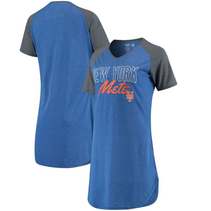 New York Mets Concepts Sport Women's Principle Raglan Nightshirt – Royal/Charcoal