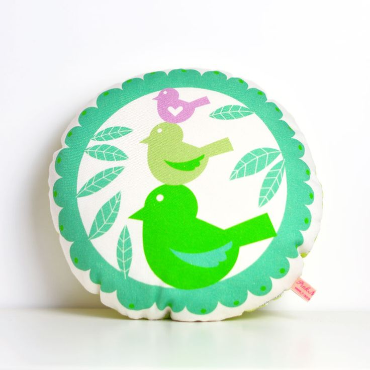 These sweet birds tweet, tweet all day long - they are a happy little bunch!  A cute and modern birds pillow that would look great in your tiny person's room and its the perfect thing for him to snuggle to!  This birds pillow is made with high quality soft and robust 100% cotton fabric.  This round cushion measures 9x9 in. Soft, fun, colorful… something different to decorate your baby bed.  The back fabrics of this pillow may vary (plain or patterned fabrics).  This cushion is made with ...