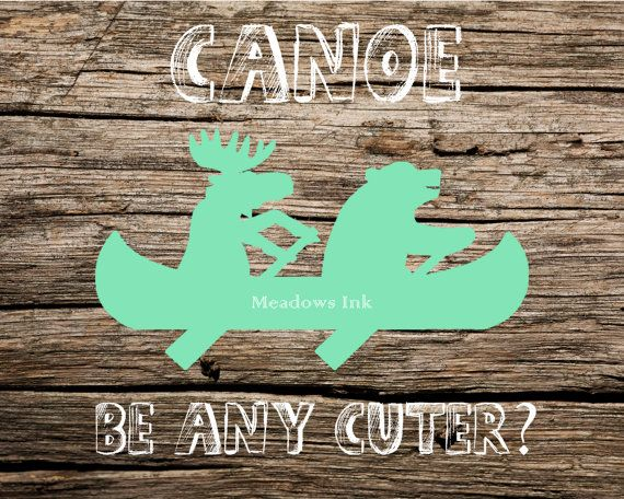 Mint Canoe Bear & Moose Nursery Print printable wall by MeadowsInk