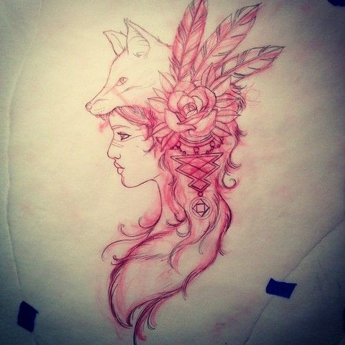 Wolf Headdress Tattoo: Girl With Wolf Headdress Tattoo