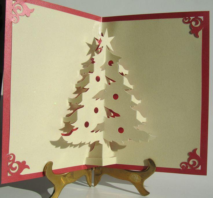 handmade pop up cards | Christmas Tree Pop Up Up Greeting Card Home Décor 3D Handmade ...
