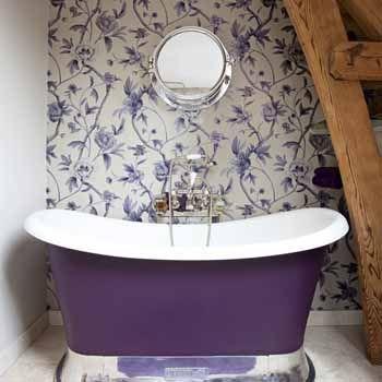 Purple and Silver Bathroom Ideas | Modern bathrooms, white-purple decorating ideas, purple bathtub and ...