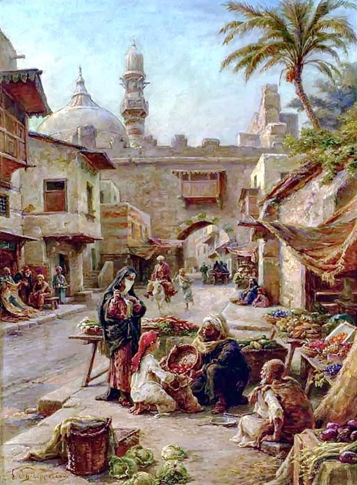 In the Souk by Paul Dominique Philippoteaux (French, 1845-1923